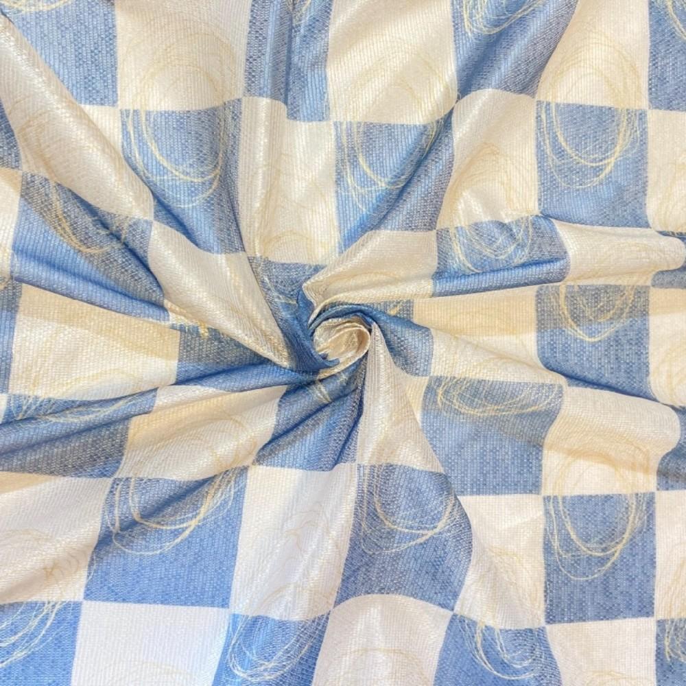 záclona voál 150 š.  čtverce modré
