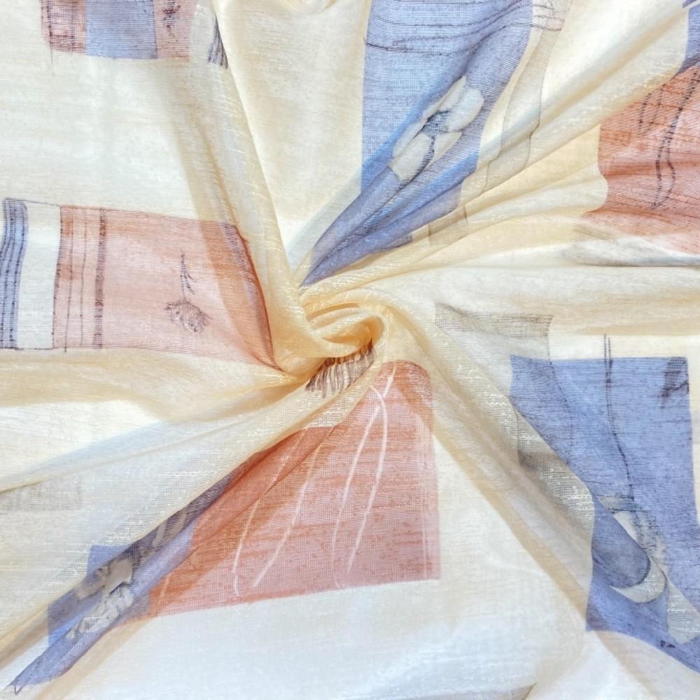 záclona  140 š. béžovo modré