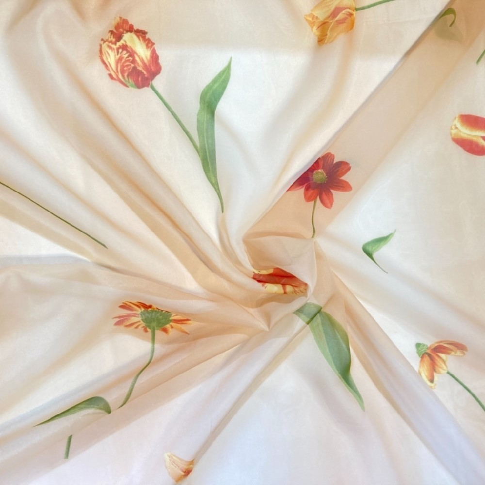 záclona voál 150 š.  květiny