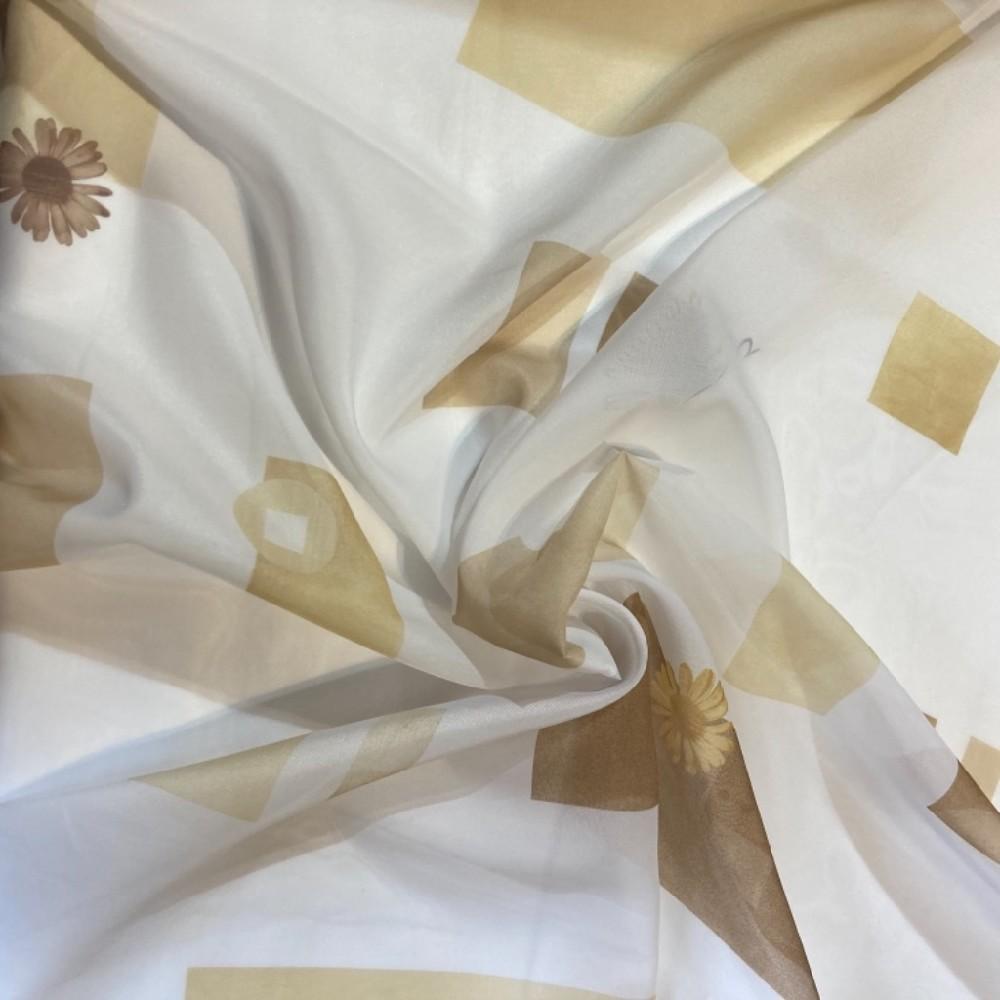 záclona voál 150š. žlutá květina bílý podklad