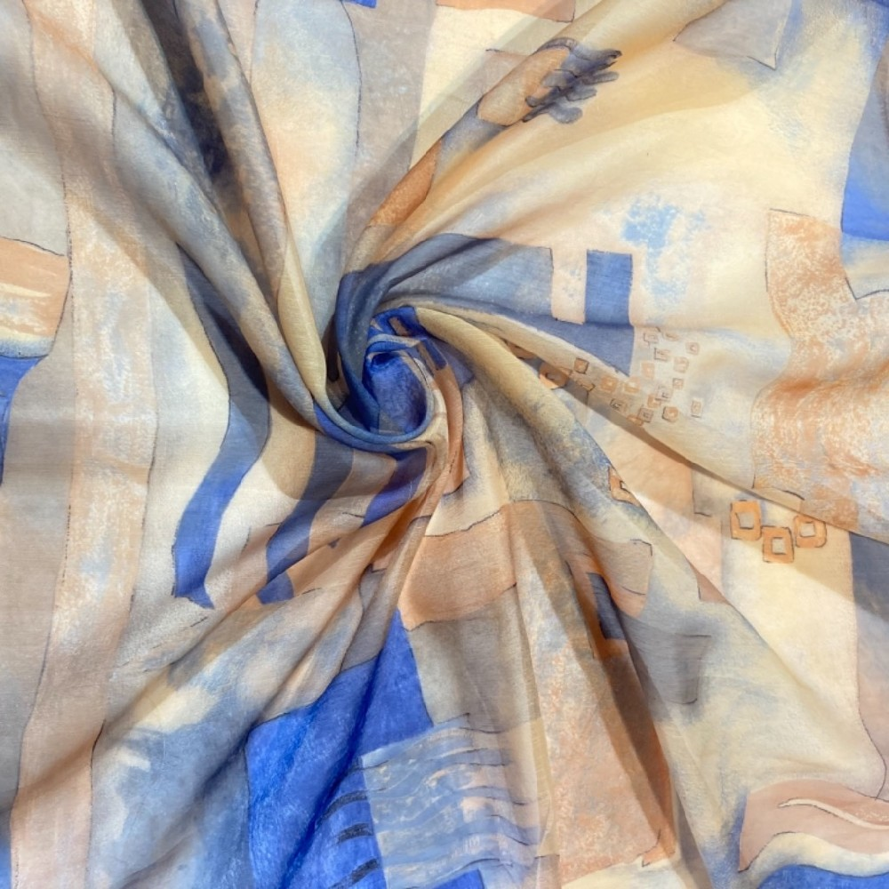 záclona voál 140š. oranž modrá