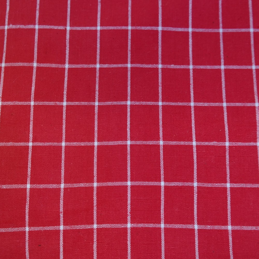 bavlna červeno-bílé kostky