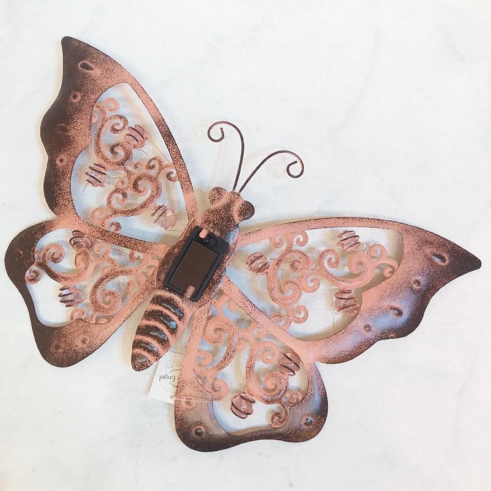 Motýl - kov. dekor. na zeď LED solar