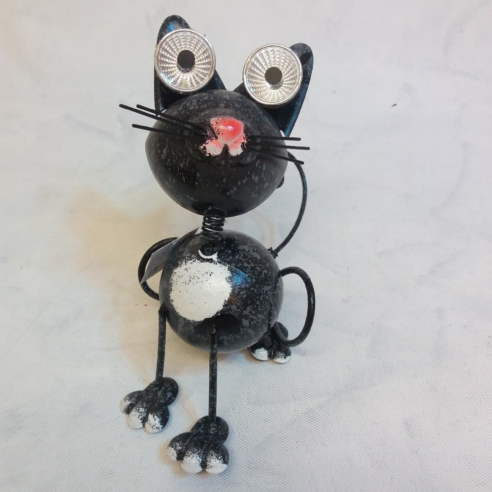 Kočka - kov. dekorace LED solar