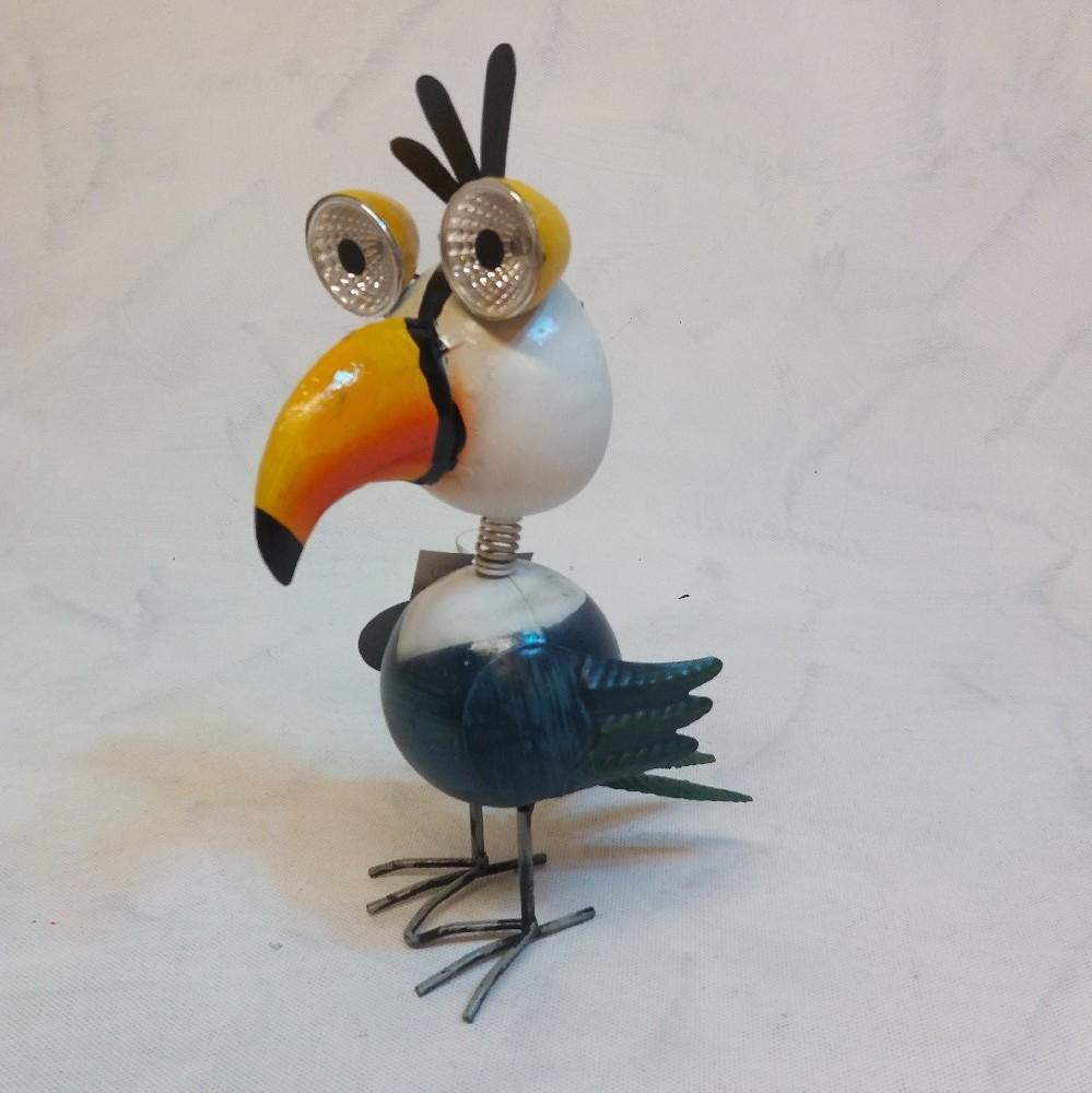 Ptáček - kov. dekorace LED solar