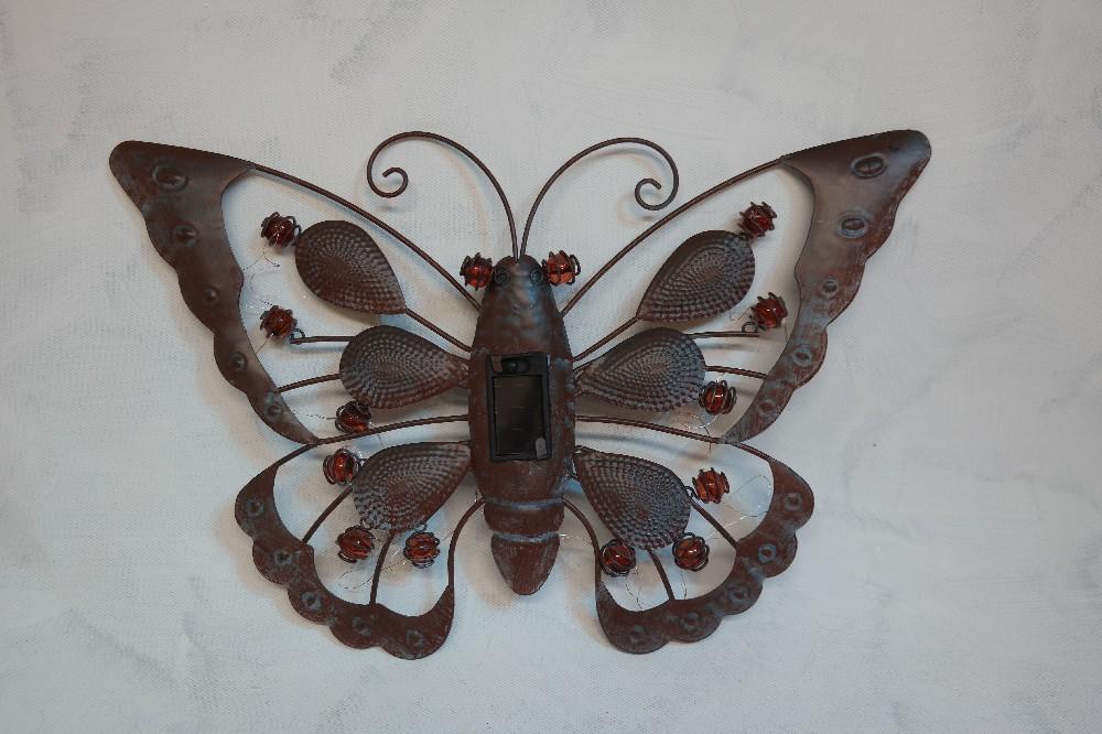 motýl kov solar dekorace