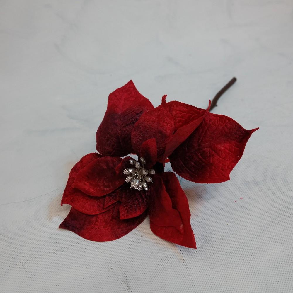 květina umělá pointtsetia červená