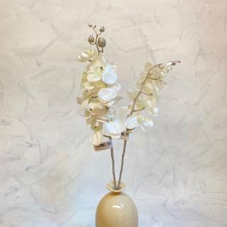 květina umělá orchidea bílá glitrovaná