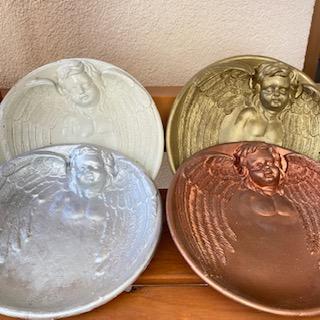talíř  anděl dekorace barvený