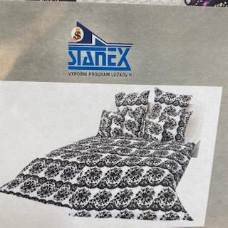 povlečení 140x200cm bavlna stanex  černo-bílé