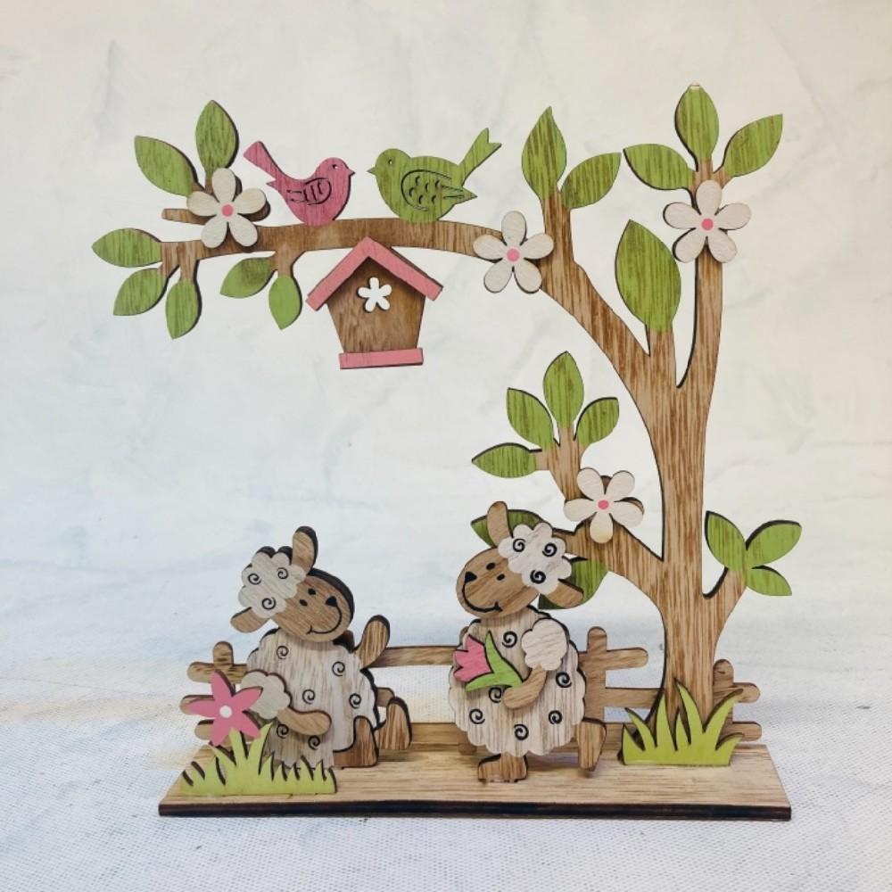 strom a ovečky dřevěné