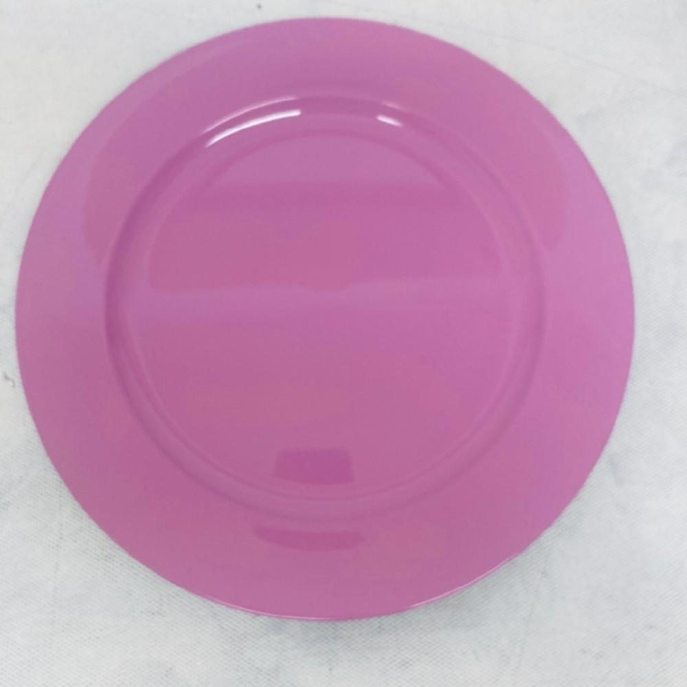 talíř kulatý 25cm růžovo černý