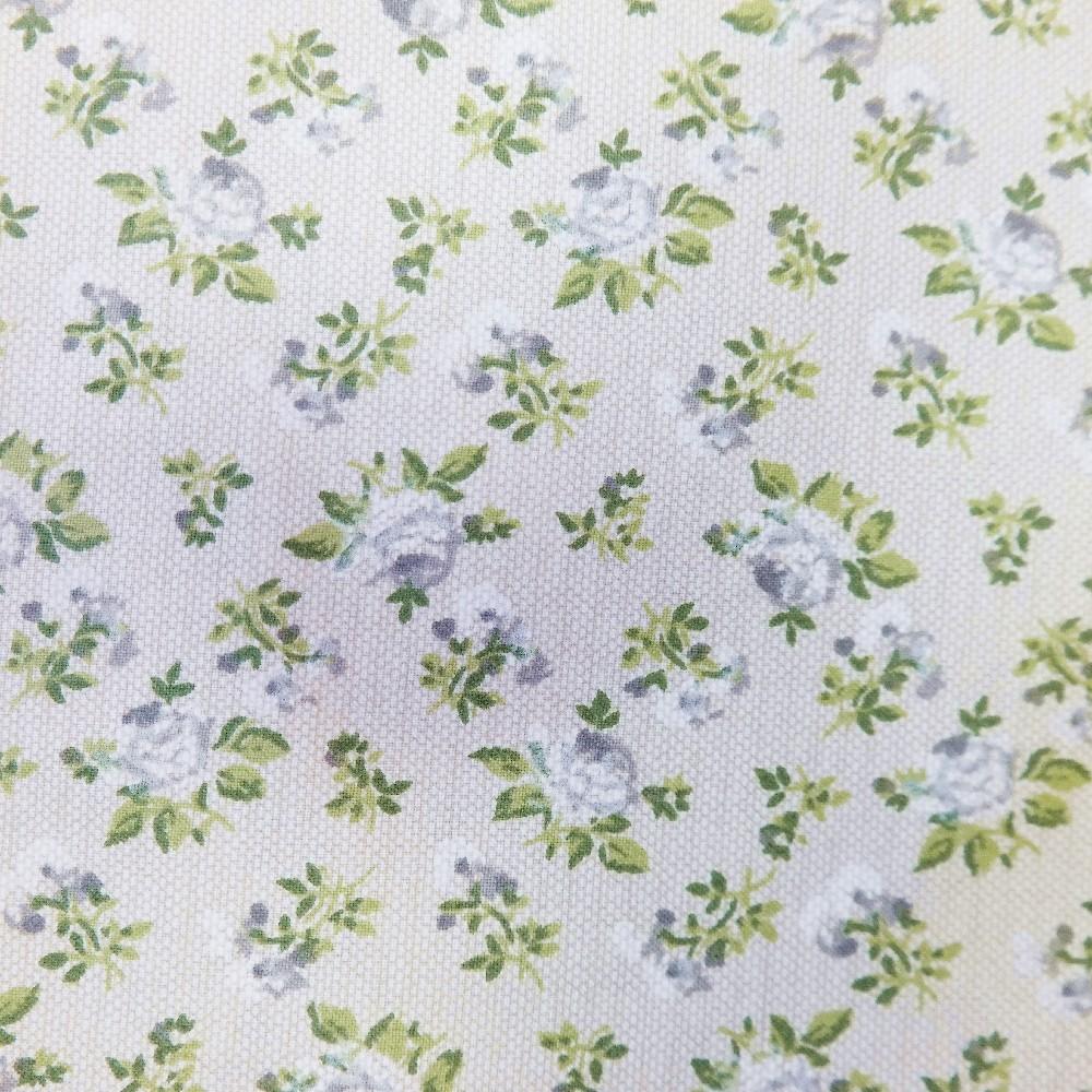 bavlna zelen.bílé kytičky natur podklad 140 cm