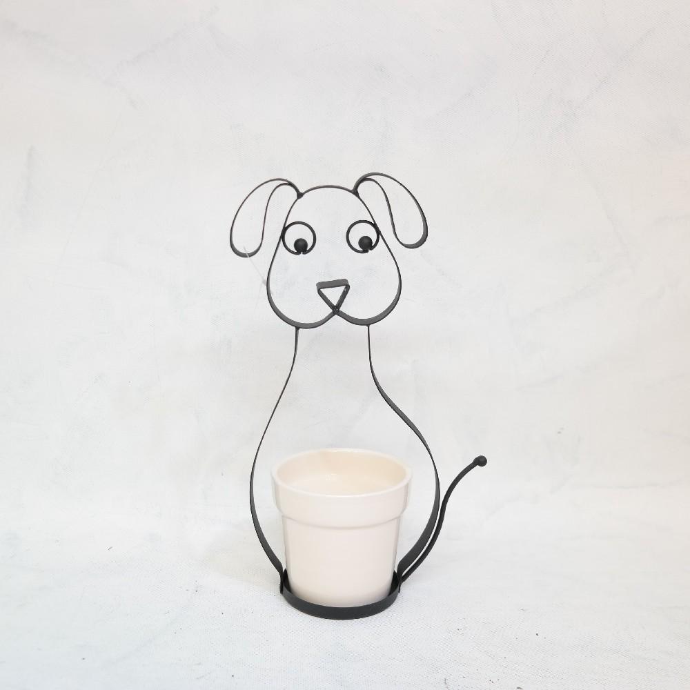 obal na květiny pes kov/keramika