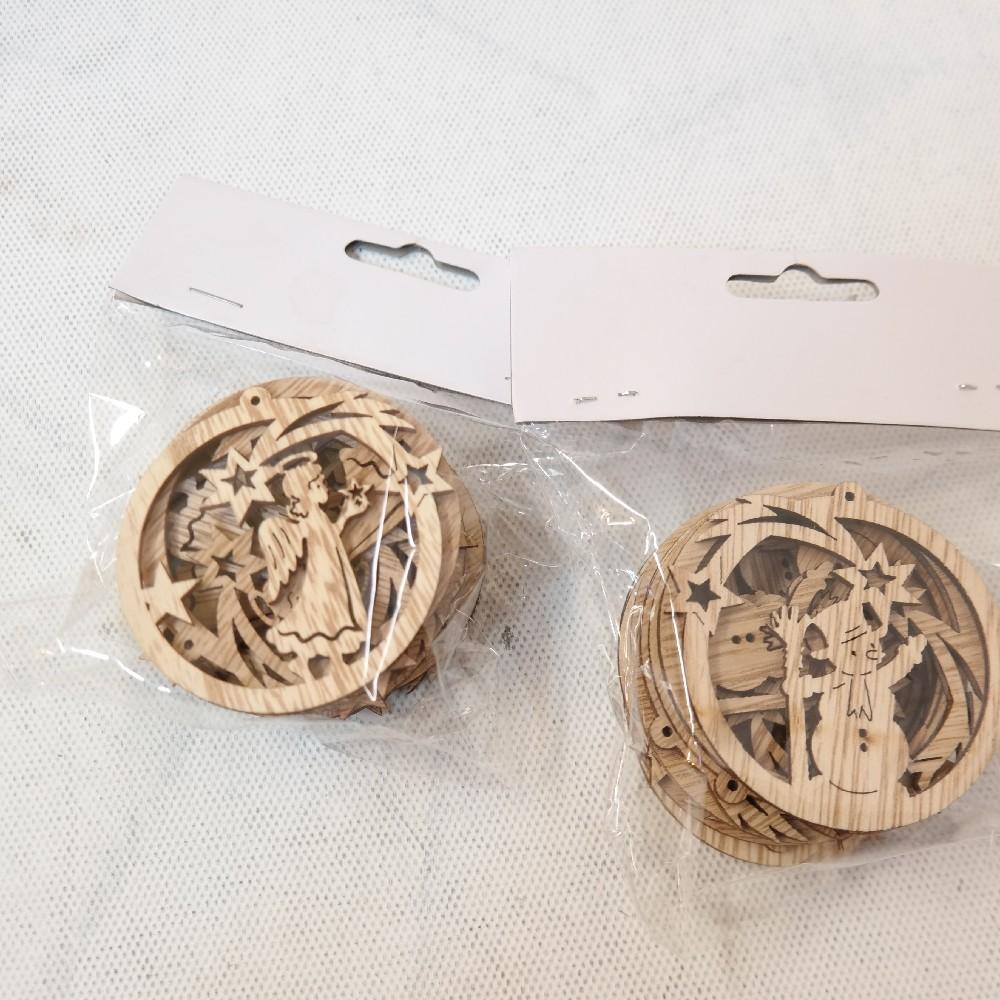 dřevěná vánoční dekorace na pověšení 12 ks