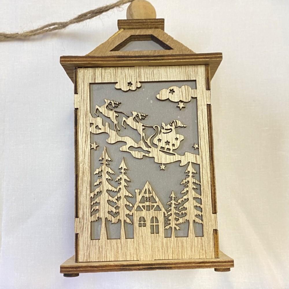 svítící lucernička vánoční  dřevěná