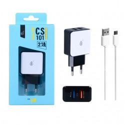 Nabíječka PLUS CS101, 2x USB výstup + kabel MicroUSB 5V/2,1A - bílá