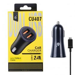 Nabíječka do auta PLUS CU407, 2xUSB výstup, Type-C kabel, 2.4A - černá