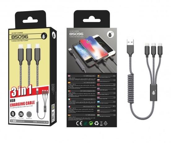 Nabíjecí kabel PLUS B5096, 3v1, Micro, Type-C, iPhone, (spirála), 2A, černý