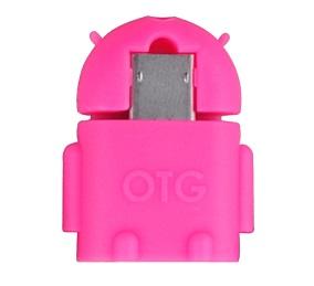 Adaptér Data microUSB/USB (OTG) růžový