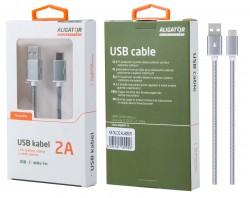 Datový kabel ALIGATOR AU406, USB-C, 2A, opletený, USB 2.0, stříbrný