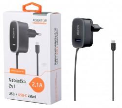 Nabíječka cestovní USB-C s USB výstupem 5V/2,1A, černá
