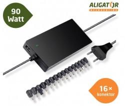 Univerzální adaptér k notebooku 90W s USB výstupem a 16 výměnnými konektory, ultra tenký