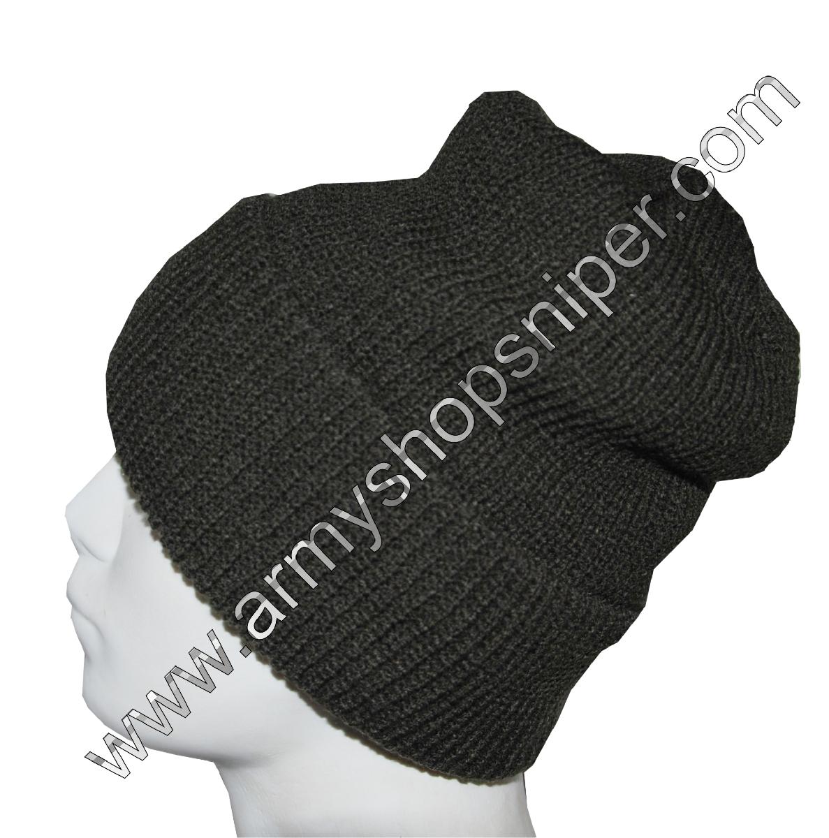 Čepice pletená podšitá filcem khaki